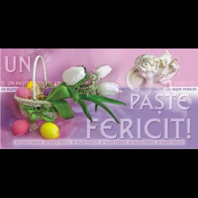 Felicitare Paste - oua colorate